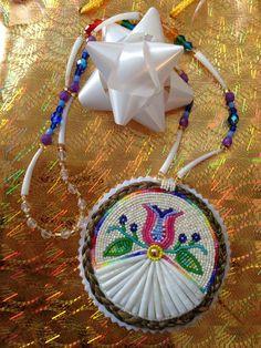 Beautiful Dentallium & Sweetgrass Beaded Medallion ~ artist Unknown
