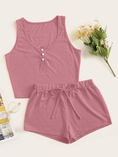 Shop Button Front Tank Top With Shorts PJ Set at ROMWE, discover more fashion styles online. Sexy Pajamas, Cute Pajamas, Pajamas Women, Pyjamas, Girls Fashion Clothes, Teen Fashion Outfits, Girl Outfits, Emo Outfits, Lolita Fashion