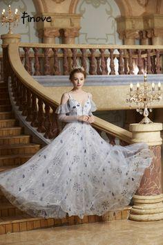 8bfc923e65 158.71 50% de réduction|Aliexpress.com: Acheter Finove robe de bal longue  2019 vestido de fiesta Chic doux coeur cou en mousseline de soie à manches  longues ...