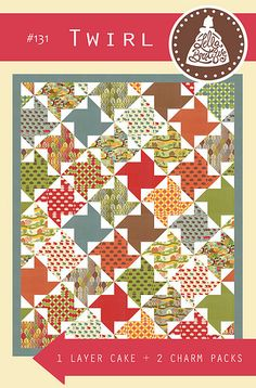 LB131 Twirl. Make this fun and easy quilt with 1 layer cake + 2 charm packs. Fabric is Neco by Momo for Moda (ships to stores in July). Get 10% off the PDF pattern in February 2015 by using the promo code MOMOLOVE
