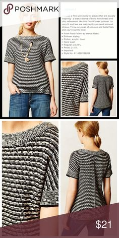 """Anthro """"Greta Striped Pullover"""" by Field Flower Very good preloved condition.  Medium-heavier weight sweater knit.  **  Prices are as listed- Nonnegotiable.  I'm happy to bundle to save shipping costs, but there are no additional discounts.  No trades, paypal or condescending terms of endearment  ** Anthropologie Sweaters Crew & Scoop Necks"""