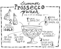 Summer punch with Prosecco, ginger ale and lime. Prosecco Punch, Prosecco Van, Recipe Folder, Summer Punch, Champagne, Summer Cocktails, Festive Cocktails, Ginger Ale, Food Illustrations