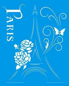 Stencil Paris 17 x 21cm - STM 233 Litoarte - Stencil 17 x 21cm - Stencil ou molde vazado - Empório Janial