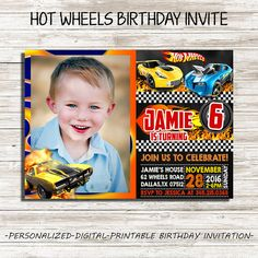 Hey, I found this really awesome Etsy listing at https://www.etsy.com/listing/481176571/hot-wheels-birthday-invitation-hot