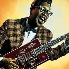 Bo Diddley by Mark Summers Rhythm And Blues, Blues Music, Play That Funky Music, Delta Blues, Nu Metal, Chuck Berry, Boogie Woogie, Billy Joel, Concert Posters