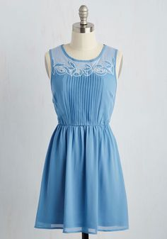 Tearoom for Two Dress. Nothing could be sweeter than enjoying a cuppa with your sweetheart while adorned in this dainty, powder blue dress. #blue #modcloth