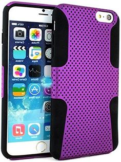 "myLife 2 Layer Neo Hybrid Bumper Case for iPhone 6 Plus (5.5"" Inch) by Apple {Starlight Purple + Black ""Perforated Mesh Net Design"" Two Piece SECURE-Fit Rubberized Gel} myLife Brand Products http://www.amazon.com/dp/B00OYGLSDE/ref=cm_sw_r_pi_dp_RE8vub10ZE7GY"