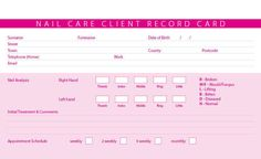 New Nail Care Treatment Consultation Client Record Cards | eBay