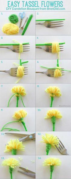 5 Cara Mudah membuat Bunga dari Benang Wol
