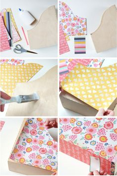 Decorare un porta documenti in legno (vedi Ikea) con la stoffa | #DIY #tutorial | Diy Decorated Magazine Holders.