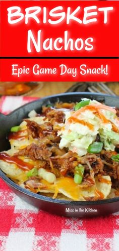 Brisket Nachos are a wonderful, easy appetizer with barbecued smoked brisket, tortilla chips, cheese and coleslaw. The perfect game day food for barbecue lovers! #brisket #nachos #healthyliving