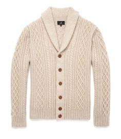 Shawl Collar Cardigan.  Shop now online: www.dunhill.co.uk/products/sks215ecru/shawl-collar-cardigan