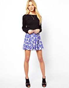 ASOS Skater Skirt in Paisley Print