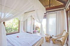 "Beach Villa ""Tiffany"" - Resorts for Rent in Tulamben, Bali, Indonesia Beach Villa, Private Room, Bali, Air Bnb, Curtains, Bedroom, Resorts, Tiffany, Home Decor"