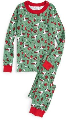 Peanuts® Holiday Organic Cotton Fitted Two-Piece Pajamas (Toddler ...