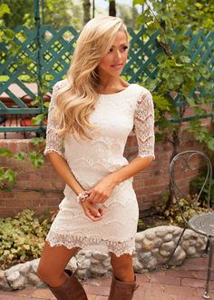 Online boutique. Best outfits. Accidentally In Love Scalloped Lace Dress Ivory - Modern Vintage Boutique