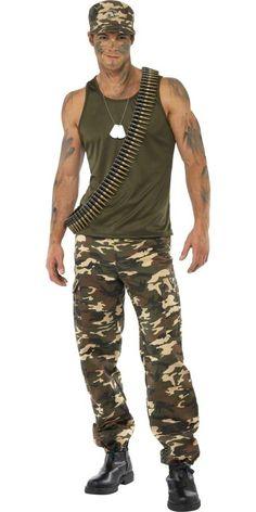 Adult Mens Khaki Camo Army Costume