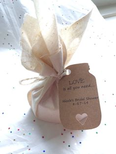 Muslin Wrapped Heart Shaped Soap Sachets by BrowniesandGinger Fall wedding favor- love the mason jar tags! Can be used as soap or sachet on drawer