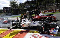 Romain Grosjean (Lotus), Sergio Pérez (Sauber) Fernando Alonso (Ferrari) - 2012 Spa-Francorchamps (Belgique)