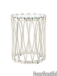 Sona Spot in White rattan with glass top. #table