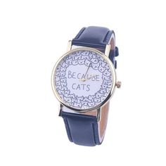 2017 New Fashion Cute BECAUSE CATS Printed Watches Women Analog Quartz Watch Fashion PU Leather Analog Clock Ladies Casual Watch