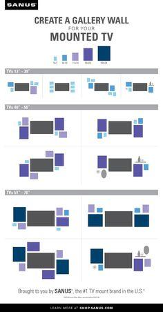 How to Create a Gallery Wall Around the TV [VIDEO] Deco Tv, Tv Wanddekor, Bedroom Tv Wall, Bedroom With Tv, Trendy Bedroom, Bedroom Decor, Flur Design, Tv Wall Decor, Wall Tv