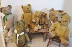 A Grand Group of Antique Mohair Bears