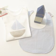 Blue Gingham Bib & Sailboat Onesie  #sweetcarolineandco #sailboat #sailboatonesie #gingham #bibs by sweetcarolineandco