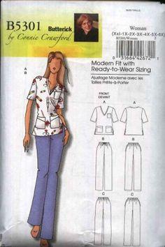 Butterick Sewing Pattern 5301 Women's Plus Size 18W-44W Easy Uniform Scrub Top Pants Nurse #sewing pattern #uniform pattern $13.99