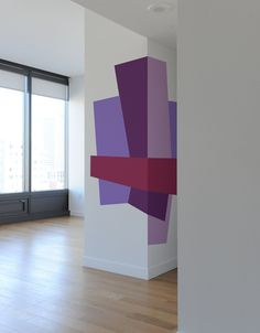 Color Block Slant wall decals by BLIK bring minimalist designer Mina Javid's sense of color and crisp geometry to change the perception of your space. Diy Wall Painting, House Painting, Office Wall Graphics, Deco Cool, Slanted Walls, Wall Paint Colors, Paint Walls, Block Wall, Office Walls