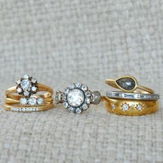 Antique Cluster Rings, Pave Bands, Black Diamonds and Diamonds set in Stars. {Antique and Conroy & Wilcox}