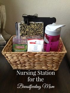 All of the must haves for a breastfeeding mom. A nursing station with what to keep close at hand for comfort and entertainment.