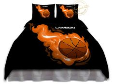 Boys Basketball Bedding - Black Comforter Orange Flames - Basketball Bedding - Custom Personalized #210 by EloquentInnovations on Etsy