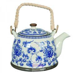 KONVIČKY A ČAJNÍKY | Keramická konvička modrá | Vintage bytové doplňky a dekorace styl provence, retro a rustikální doplňky