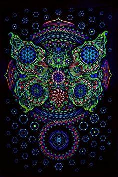 Backdrop Butterfly Effect Psychedelic Deco Wandbehang 1m x 1,5m Hippie Goa Kunst