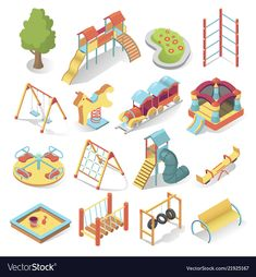 Kids playground bright equipment isometric style vector image on VectorStock Kids Cubby Houses, Kids Cubbies, Site Layout Plan, Presentation Board Design, We Go Together, Video Game Development, Object Drawing, Low Poly Models, Cute Illustration