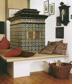 antique tiled stoves by Theo Holtebrinck – Fireplace Ideas 2020 Fireplace Shelves, Small Fireplace, Stove Fireplace, Fireplace Outdoor, Wood Panneling, Wood Beams, Antique Stove, Wood Backsplash, Wood Bedroom