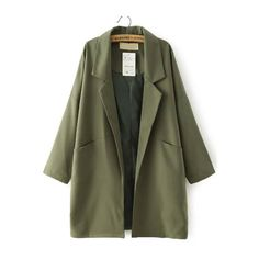 SheIn(sheinside) Army Green Lapel Pockets Loose Trench Coat (195 DKK) ❤ liked on Polyvore featuring outerwear, coats, jackets, green, long trench coat, long coat, vintage coat, olive trench coat and lapel coat