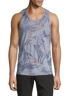 Civil Society Leaf-print Cotton Tank Top In Heather Grey Civil Society, Leaf Prints, Civilization, Printed Cotton, Heather Grey, Tank Man, Mens Fashion, Tank Tops, Shopping