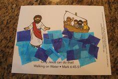"Sample: ""Walk on Water"" - - week 3 Water Crafts Preschool, Preschool Summer Camp, Preschool Bible, Bible Activities, Bible Story Crafts, Bible Crafts For Kids, Bible Study For Kids, Bible Lessons For Kids, Jesus Crafts"