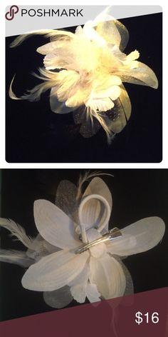 White and Black Flower Fascinator Clip/Elastic New, Never Worn White and Black Flower Hair Clip and Hair Elastic (ponytail holder). Accessories Hair Accessories