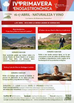 """¡ Seguimos con más actividades para el próximo 16 y 17 de abril! ¡Disfruta de todos tus sentidos con """"Naturaleza y Vino""""! en la #IVprimaveraenogastronomica"""