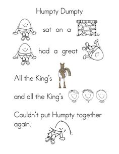 More Fun with Nursery Rhymes! Humpty dumpty + other nursery rhymes–reading/retell/puppets Rhyming Preschool, Rhyming Activities, Preschool Worksheets, Book Activities, Reading Worksheets, Preschool Classroom, Preschool Learning, Preschool Ideas, Early Learning
