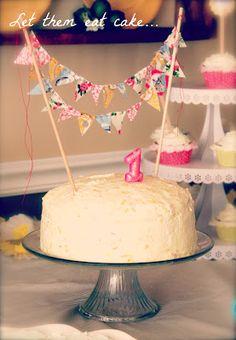 Rustic Burlap Cake Banner Pink Birthday Bunting Happy G063