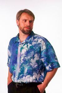 Marbled Silk Mandarin Men's Shirt