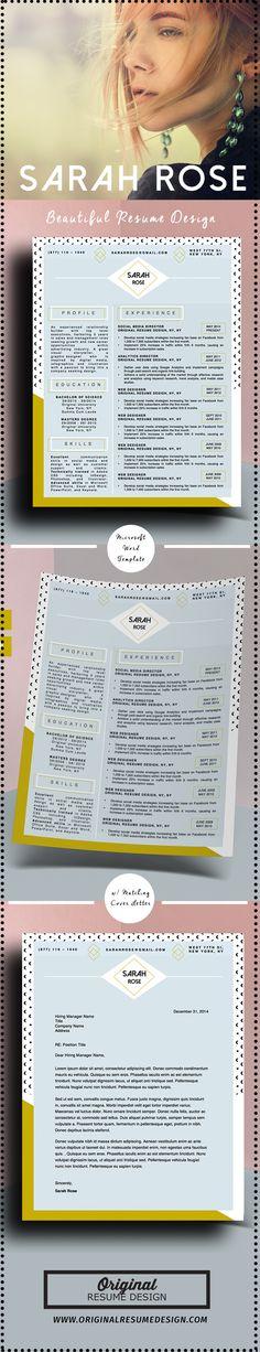 Beautiful Modern Resume Template for Microsoft Word - Laurel - beautiful resume designs