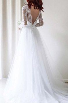 2018 Wedding Dresses #2018WeddingDresses, Lace Wedding Dresses #LaceWeddingDresses, White Wedding Dresses #WhiteWeddingDresses, White Lace Wedding dresses #WhiteLaceWeddingdresses, A-Line Wedding Dresses #A-LineWeddingDresses