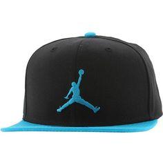 Jordan Jumpman Snapback Cap (black turquoise) ($28) ❤ liked on Polyvore