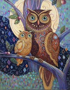 Wall Art - Painting - Owl Baby And Mother by Marjorie Sarnat Owl Artwork, Owl Cartoon, Owl Pictures, Owl Crafts, Baby Owls, Bird Art, Coloring Books, Artsy, Owl Paintings