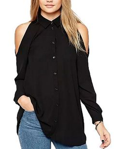 Cheap top quality t shirt, Buy Quality top brand t shirt directly from China top shirt Suppliers: Women off shoulder long shirts sexy chiffon tops turn down collar blouse long sleeve casual plus size Blusas Femininas Blouse Sexy, Black Chiffon Blouse, Chiffon Shirt, Long Blouse, Chiffon Tops, Collar Blouse, Chiffon Fabric, Chiffon Material, Pleated Shirt